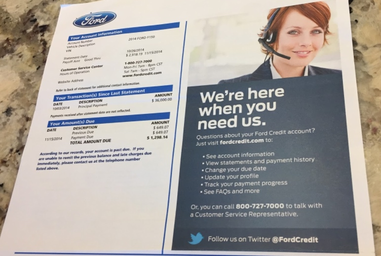 Ford Credit Invoice